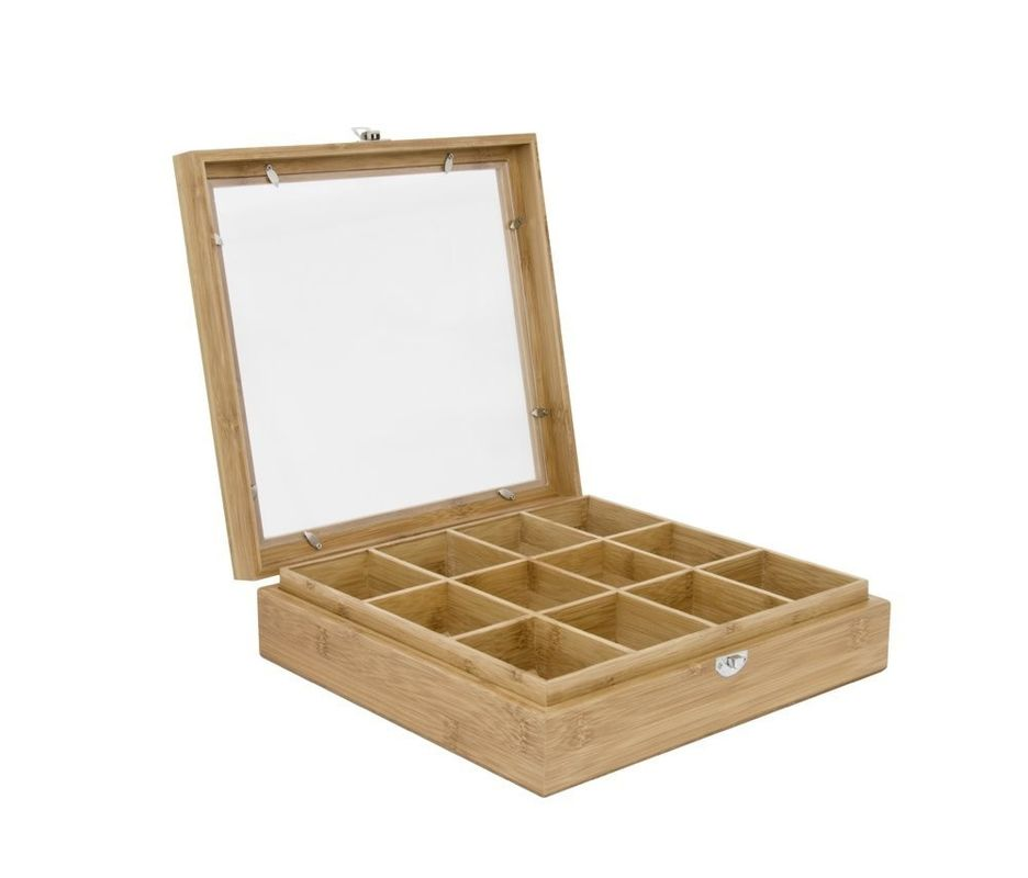 12-Compartment Bamboo Wooden Tea Box with Window