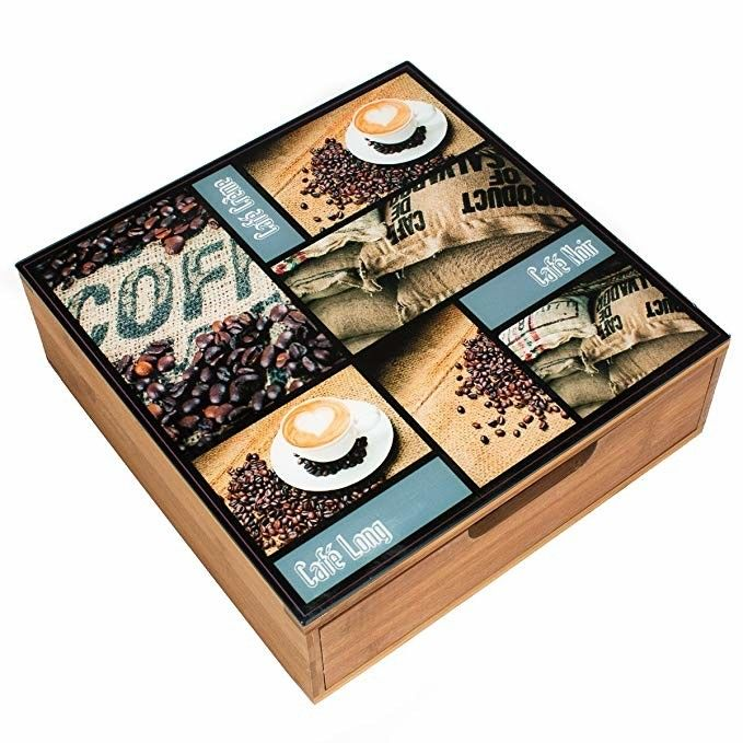 Easy Cleaning Wooden Tea Bag Chest Drawer Countertop Storage For Restaurant
