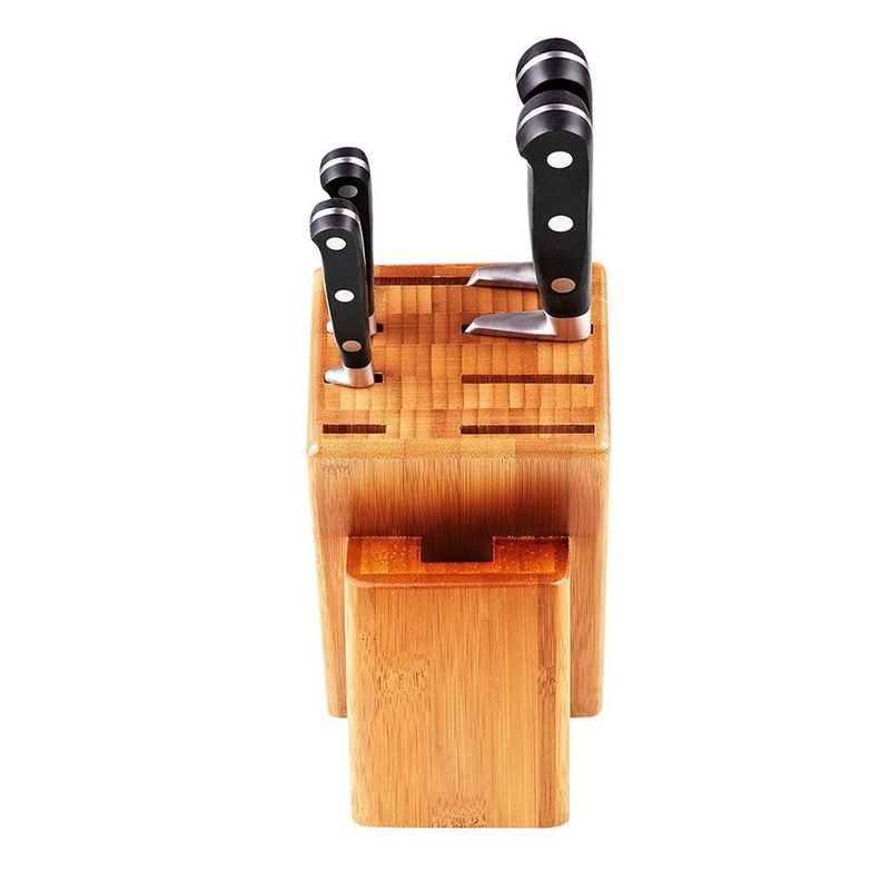 High Durability Bamboo Knife Block Set Natural Color For Home Kitchen